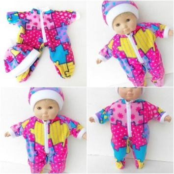 "Bitty Baby Clothes, fits 15"" Girl doll, Pink Puzzle Print Pajamas Hat, HANDMADE"