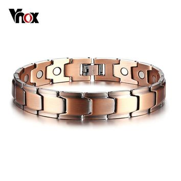 Vnox Casual Men Bracelet Magnetic Therapy Bangle Copper Energy Power Male Jewelry