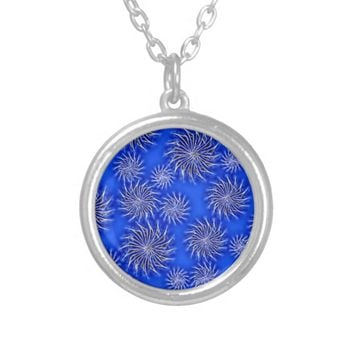 Spinning stars energetic pattern dark blue silver plated necklace