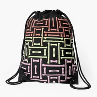 'Funky Tri Color' Drawstring Bag by Dizzydot