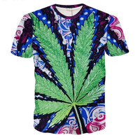 Fashion Men Unisex Weed Hemp Leaf Print Galaxy Brand 3d Plam Leaves Pullovers Te
