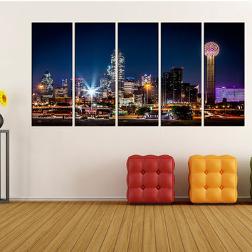 Dallas skyline wall art canvas, extra large wall art, large Dallas night photo print, dallas skyline canvas wall art print no:uc54