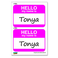 Tonya Hello My Name Is - Sheet of 2 Stickers