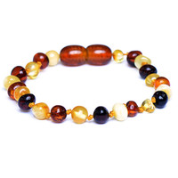Amber Teething Bracelet - Anklet  for Baby - Safety Knotted - Genuine Baltic Amber - Mixed Color - Delivery from USA