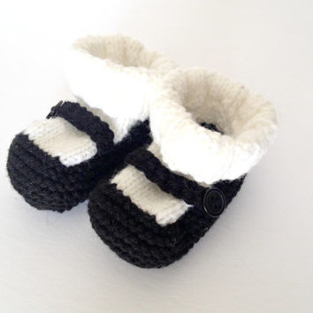 Baby girl shoes, black mary janes, knit baby booties, infant shoes, baby dress shoes, mary jane shoes, baby socks, baby shower gift, 1 year