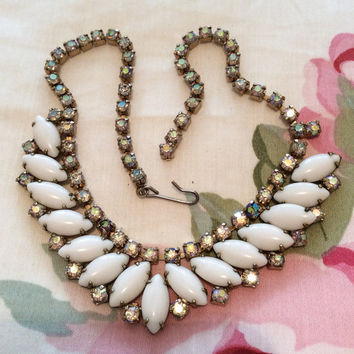 NEW YEAR Sale, Milk Glass Necklace with Irridescent Rhinestones, Vintage Jewelry, Gift for Her