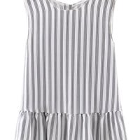Monochrome Stripe Peplum Hem Sleeveless Blouse