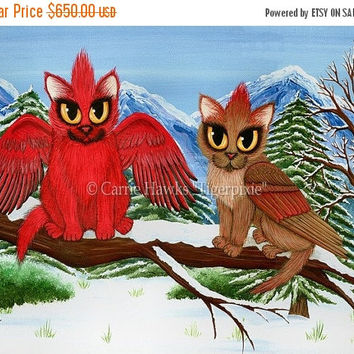 SALE Cardinal Cats Original Cat Painting Art Bird Winter Snow Fantasy Cat Art Original Canvas Painting 12x16 Art For Cat Lover