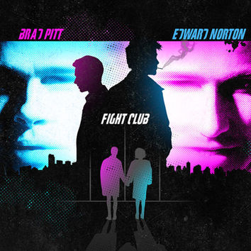Fight club poster brad pitt edward norton movie poster black light blue pink Alternative movie poster