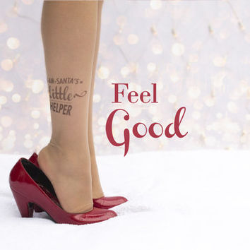 Special Christmas tights - santa's little helper tattoo tights / santa claus assistance / sexy tights / sexy tattoo / funny /merry Christmas