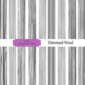 The Distressed Wood Collection Digital Paper, Scrapbooking, Scrapbooking paper, Invitation, Background, Wood in Black and White