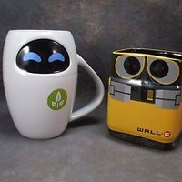 **BRAND NEW** Disney/Pixar WALL-E & EVE Ceramic Mug SET! Store EXCLUSIVE!!