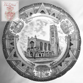 Copeland Spode Black Transferware Charger Plate Stunning Architectural Border Chicago University Chapel