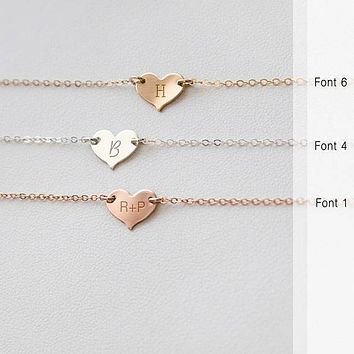 Valentines Necklace, Personalized Heart Necklace,