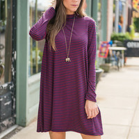 All Love All The Time Dress, Crimson-Navy