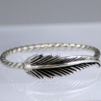 Sterling silver feather ring, feather ring, rope band, feather ring with rope band, statement, novelty, women, wedding