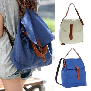 Fashion Women Vintage Canvas Satchel Rucksack Travel Schoolbag Bookbag Backpack [8081691655]