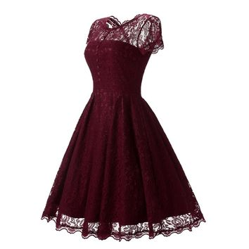 Women Short Evening Dresses burgundy Prom Dresses Lace Party Gowns Mother of the Bride Dress