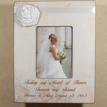 WEDDING GIFT SISTER Today My Maid of Honor Forever My FriendPersonalized Custom  SisterBride Wedding 8x8 Overall Size