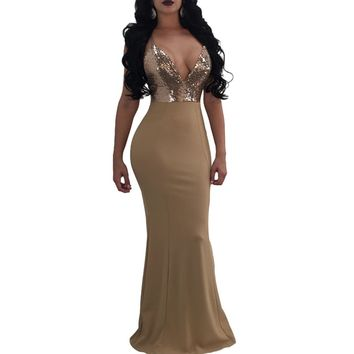 Sexy Women Maxi Sequined Bodycon Dress V Neck Backless Sleeveless Formal Dress Long Bandage Party Dresses Clubwear Beige
