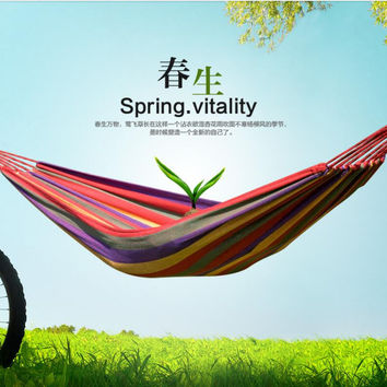 280*150cm   two  Person hammock, cotton hammock tourism camping hunting Leisure Fabric Stripes Outdoor hammocks