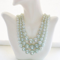 JAPAN Iridescent Mint Green Pearl Triple Strand Choker Necklace  Vintage Multi Strand Beaded Necklace