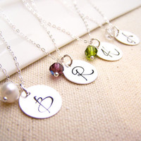 Personalized Necklace - Initial Necklace - Birthstone Necklace - Sterling Silver Initial Necklace - Bridesmaid Necklace