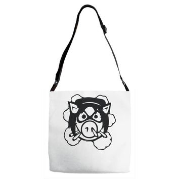 pig wheels angry Adjustable Strap Totes