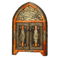 Arched Henna Bone Moroccan Mirror with Doors (Morocco)
