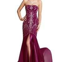 Carlyna New Strapless Beading Formal Evening Gown Bridesmaid Dress(C36140317)
