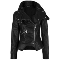 Alexander McQueen - Textured Leather Biker Jacket (Black)