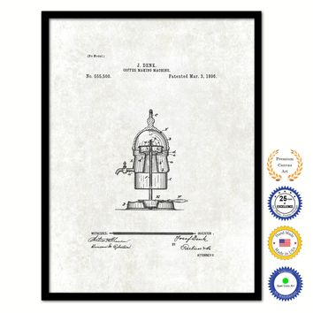1896 Coffee Maker Machine Vintage Patent Artwork Black Framed Canvas Print Home Office Decor Great for Coffee Spice Lover Cafe Shop