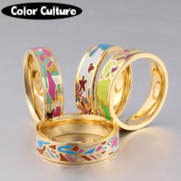 The New Stainless Steel Rings Jewelry Colorful Geometric Enamel Rings for Women Best Friends Holiday Gifts Gilded Rings