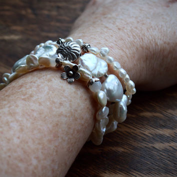 White boho bracelet set | Southwestern bracelet stack | Big baroque pearl stretch bracelet | White tribal fashion | Valentines gift for wife