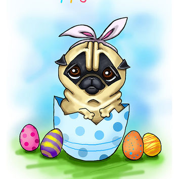 "Funny Easter card with Pug. Printable greeting card, Instant Download 5 x 7"" JPG file, Happy Easter. Funny sketch drawing."