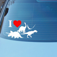 I Love Dinosaurs vinyl decal for car, laptop, wall, door or any smooth surface! T rex apatosaurus pterodactyl triceratops sticker