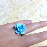 CLEARANCE - Turquoise Bliss Rose Silver Ring