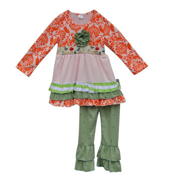 Giggle Moon Remake Baby Clothes Kids Outfits Children's Boutique Clothing Sets With Ruffle Pants Suit F076