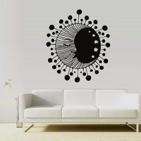 Wall Vinyl Sticker Decals Decor Art Bedroom Design Mural Sun Crescent Dual Ethnical Stars Symbol Moon (z2997)