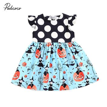 Cute Halloween Baby Girls Princess Dress Pumpkin Kids Ruffles Sleeve Blue Polka Dot Party Pageant Holiday Dresses Clothes