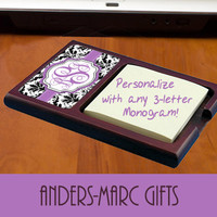 Monogrammed Mahogany Black Damask Sticky Note Holder  ** Or Personalize with a Name * * Office or Den Wedding, Housewarming Gift Under 20 **