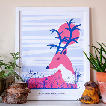 Printable Deer Print, Deer Wall Art, Animal Print, Deer Poster, Woodland Nursery, Home Decor, Wall Art, Nature Quote, Blue Pink, 12x16