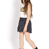 FOREVER 21 GIRLS Float On Floral Skirt (Kids) Navy/Light Blue Small