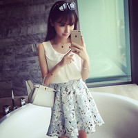Small fresh flowers perspective gauze skirt umbrella