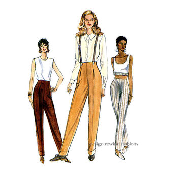1990s VOGUE PANTS PATTERN High Raised Waist Tapered Pants with Front Tucks Vogue 9203 Womens Trousers Sewing Patterns UNCuT Waist 26.5 28 30
