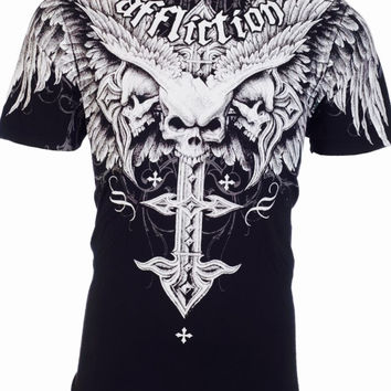 Men's Affliction Skull Tattoo T Shirt