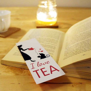 I LOVE tea - Illustrated BOOKMARK, black, white and pink. - Book lover gift