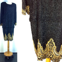 80s Sequin Dress Laurence Kazar Dropped Waist Beaded Party Dress Black Silk Gold Vintage New Years Eve Glam Disco Trophy Dress L bust 46