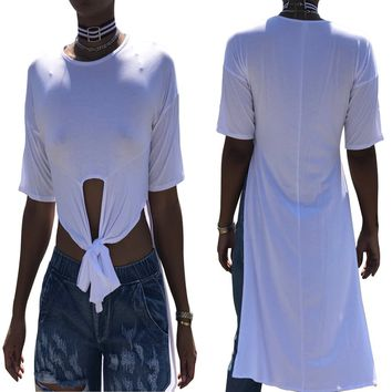 Pure White High Low Shirts