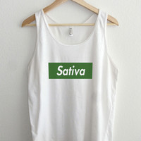 Sativa Supreme Green Typography Unisex Tank Top